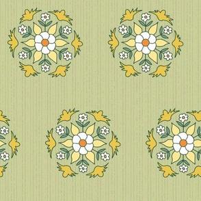 geometric rosettes with flowers medium
