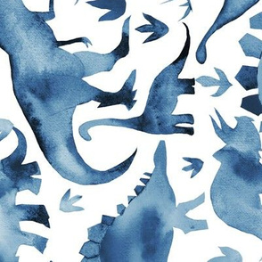 Navy Blue dinosaurs on white - larger scale - rotated
