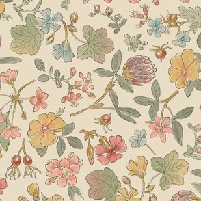 Floral Scatter Ink and Watercolor Vintage Colors