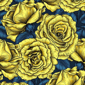 Night roses in yellow  and blue