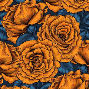 Night roses in orange and blue