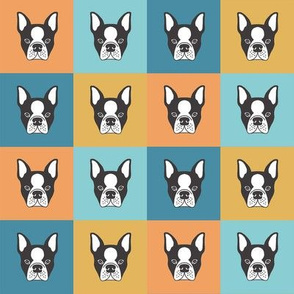 French Bulldog heads in squares