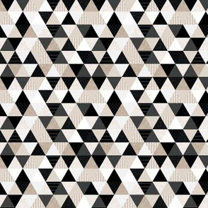 """1/2"""" triangles: black and taupe patterns"""