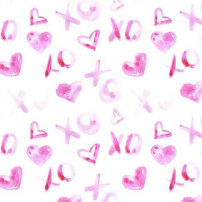 love pattern watercolor XO and hearts for saint valentines a112-1