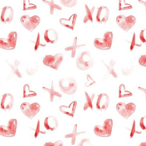 love pattern - red watercolor XO and hearts for saint valentines a112-2