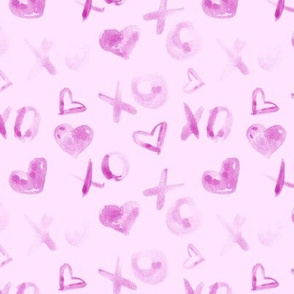 Pink love pattern watercolor XO and hearts for saint valentines a112