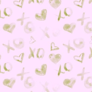 Khaki on blush pink love pattern watercolor XO and hearts for saint valentines a112-10