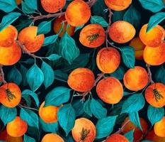 Apricot garden on dark blue