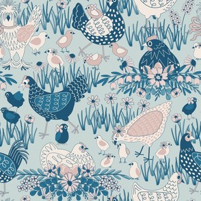 Spring Chickens // BLUE // Large