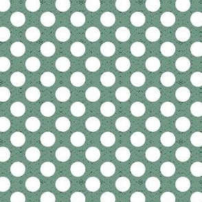 polka dots white on green large