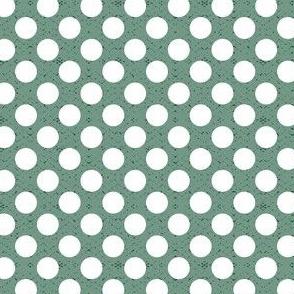 polka dots white on green medium