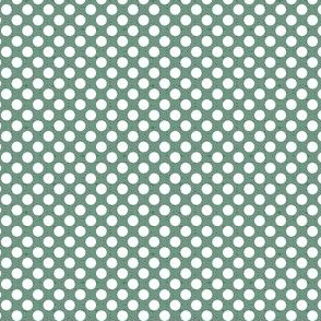 polka dots white on green small