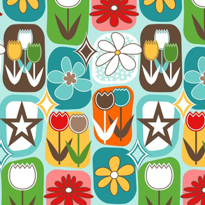 Mid Century Modern Flowers // Tulips, Daisies, Stars // Turquoise Blue, Red, Rose Pink, Orange, Caribbean Blue, Brown,  Yellow, Green, White  // V2