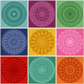 Colorful Geometric Mandala Square Patchwork