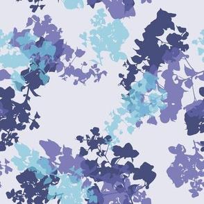 blue floral  foliage sylhouettes