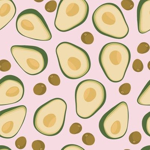 Half avocados with seeds