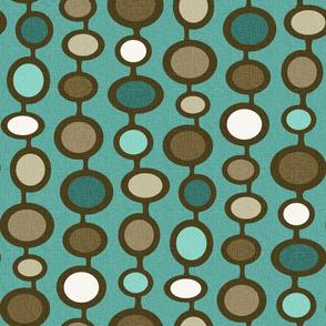Atomic Age Mushroom Clouds Geometric Pattern // Teal, Turquoise, Khaki Tan, Dark Brown, Ivory