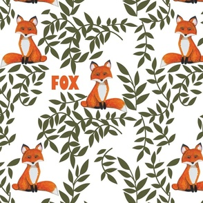 Cute Fox and Leaves