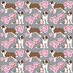 St Bernard dogs and pink roses
