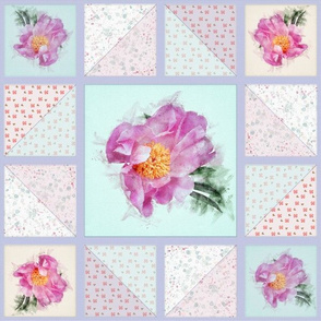 Peony Faux Quilt Top in Springtime Hues V