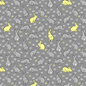 LEMON AND GREY BUNNIES ON A GREY BACKGROUND