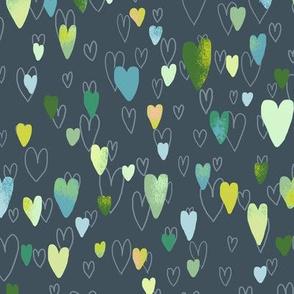 layered hearts gray