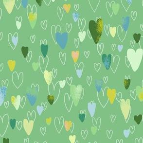 layered hearts green