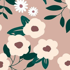 Little boho daisy spring garden flower blossom soft pastel neutral nursery baby beige latte forest green maroon  JUMBO