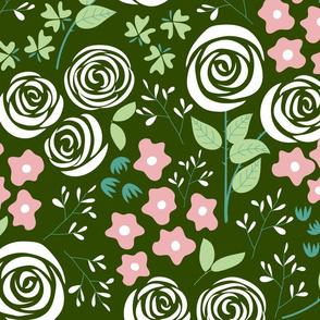 Rose Garden in dark green (large)