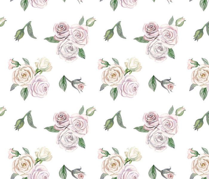 Cute romantic naive white roses on white background. Hand drawn watercolor
