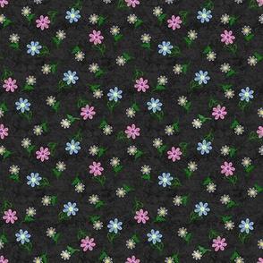 Embroidered Flowers  on Deep GrayTexture
