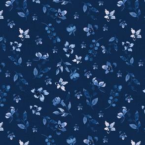 Blue watercolour floral scatter
