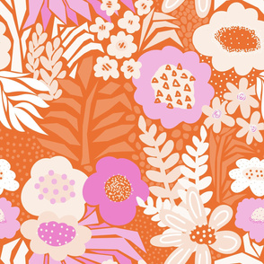 Pink White Red Large Retro Flower Field