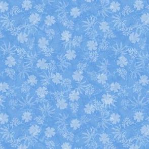 Thunbergia and Foliage on Cornflower Blue Marble
