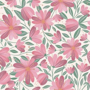 Folky Flowers - Burgundy and Rose