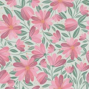 Folky Flowers - Mint Green