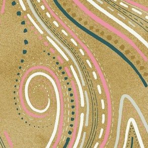 Gold Lines and Swirl Gemstone Texture