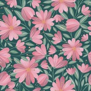 Folky Flowers - Green Velvet