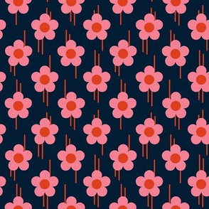 Retro - pop of flowers - pink ( small )