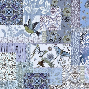 patchwork shades of blue