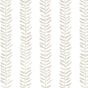 Botanical Block Print, Sandstone on White   Leaf pattern fabric from original block print, Edgecomb gray, neutral decor, plant fabric, white and taupe.