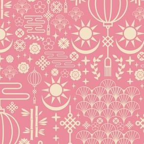 Soft Pink Deco Ornamental Asian Pattern
