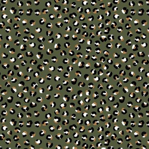Double leopard spots boho panther print nursery camo army green cinnamon SMALL