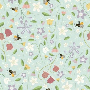 A cute garden full of Honey Flowers, and Bees - Sky Blue Background