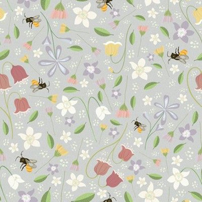 A cute garden full of Honey Flowers, and Bees - Pistacho Grey Background