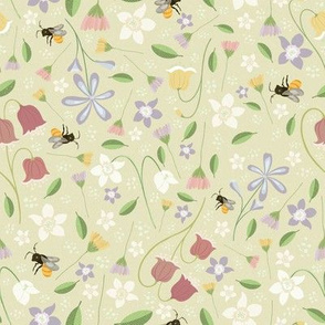 A cute garden full of Honey Flowers, and Bees - Pistacho Green Background