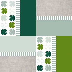 Lucky clover patchwork in green, mint, emerald and linen