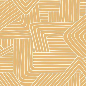 Little Maze stripes minimal Scandinavian grid style trend abstract geometric print white honey yellow