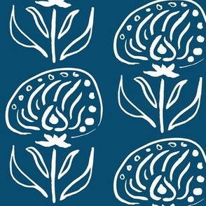 Brushed Floral Study 7, White Ink on Navy Blue