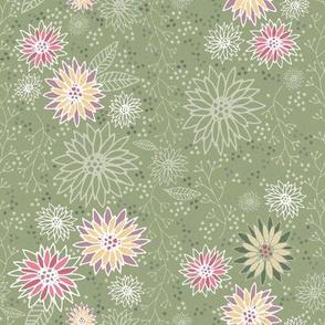 Burgundy Flower - Green